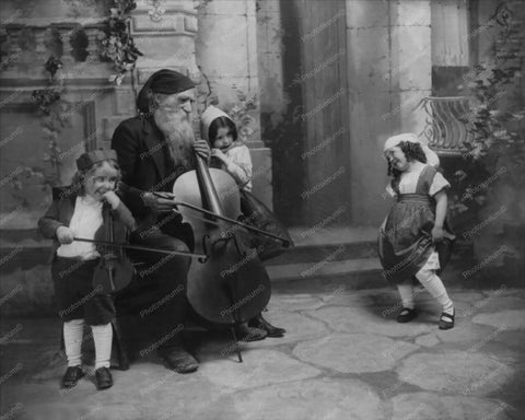 Bearded Man With Cello & Chidren Vintage 8x10 Reprint Of Old Photo