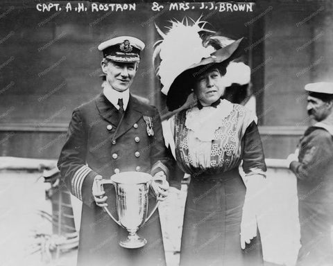 Capt Rostron & Mrs Brown Circa 1910s 8x10 Reprint Of Old Photo