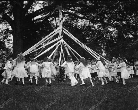 Children Dancing Around Maypole 1915 Vintage 8x10 Reprint Of Old Photo