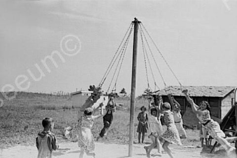Children Enjoy May Pole Dance! 1930s 4x6 Reprint Of Old Photo