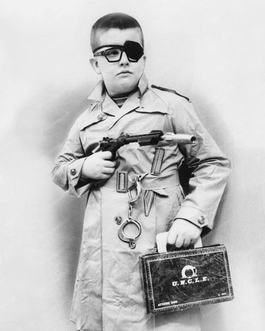Boy Dressed Up As Agent Man From Uncle 8x10 Reprint Of Old Photo