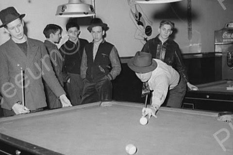 Boys in Indiana Billiards Hall 1940s 4x6 Reprint Of Old Photo