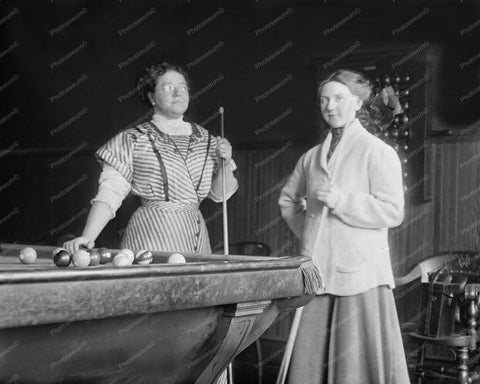 Billiards Miss Clearwater & Mrs King  8x10 Reprint Of Old Photo