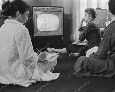 Three Women Watching TV In The 1950's 8x10 Reprint Of Old Photo