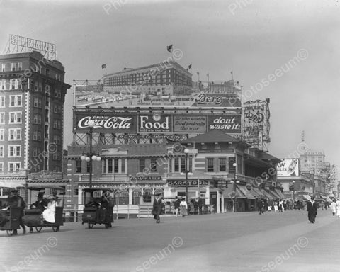 Atlantic City Boardwalk Coca Cola Sign 1917 Vintage 8x10 Reprint Of Old Photo
