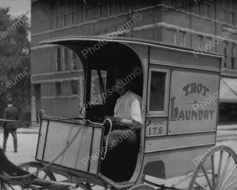 Troy Laundry Truck &  Driver 1900s 8x10 Reprint Of Old Photo