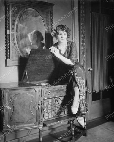 Woman Posing With Record Player Console Vintage 8x10 Reprint Of Old Photo