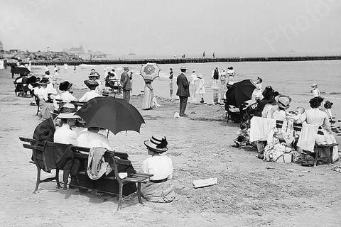 Coney Island Sunday At The Beach Scene 4x6 Reprint Of Old Photo