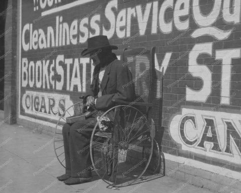 Blind Beggar Wheelchair Oklahoma 1910s 8x10 Reprint Of Old Photo