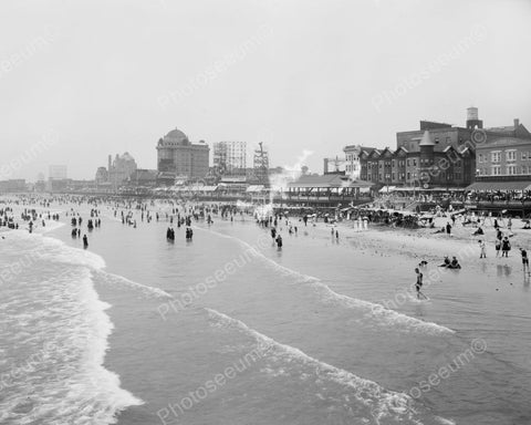 Busy Beach At Atlantic City Hotel Strip 8x10 Reprint Of Old  Photo