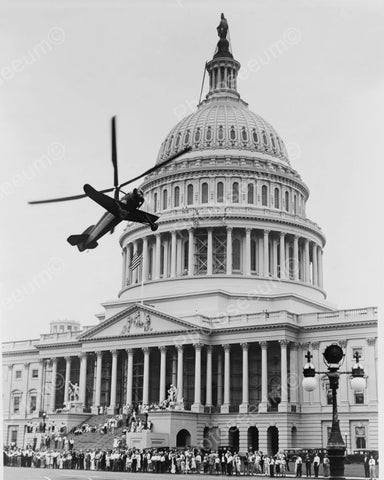 Helicopter Plane Above U.S. Capitol Hill 8x10 Reprint Of Old Photo