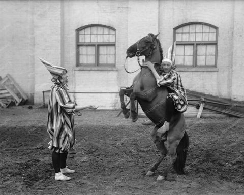 Clown On Rearing Horse! 1910s 8x10 Reprint Of Old Photo