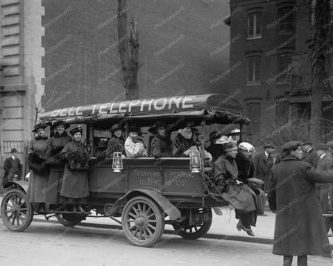 Bell Telephone Trucks Girls Strike 8x10 Reprint Of Old Photo