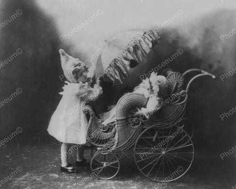 Beautiful Ornate Baby Carriage 1900 Vintage 8x10 Reprint Of Old Photo