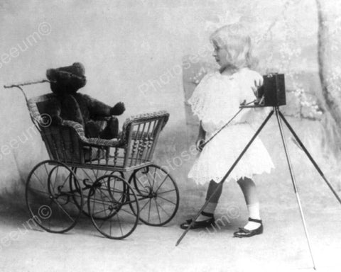 Girl Tot Takes Photo Of Teddy & Carriage 8x10 Reprint Of Old Photo