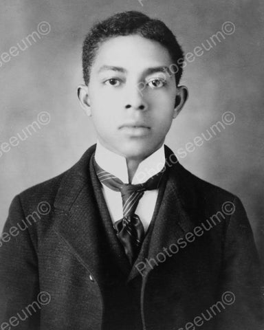 Well Dressed Black Boy Vintage Portrait 8x10 Reprint Of Old Photo