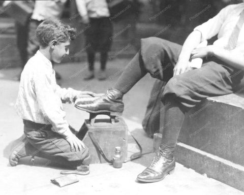 Bootblack Shoeshine Boy At Park 8x10 Reprint Of Old Photo