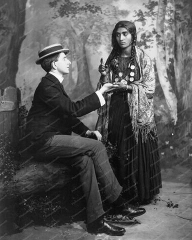 Man Visits Gypsy Fortune Teller 1900s 8x10 Reprint Of Old Photo