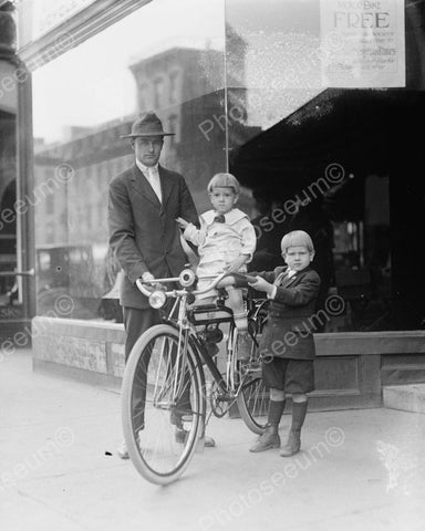 Father And Two Sons With New Bike Viintage 8x10 Reprint Of Old Photo