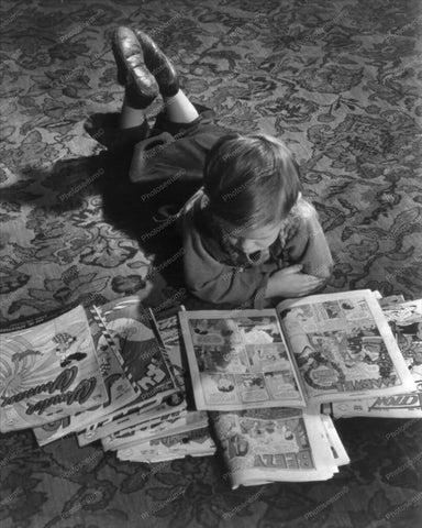 Small Boy Reading Silver Age Comics 8x10 Reprint Of Old Photo