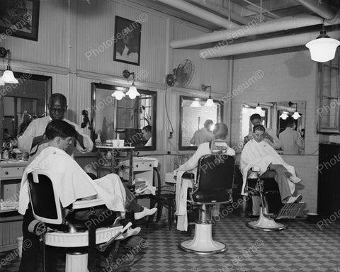Barbers Working 1937 Vintage 8x10 Reprint Of Old Photo