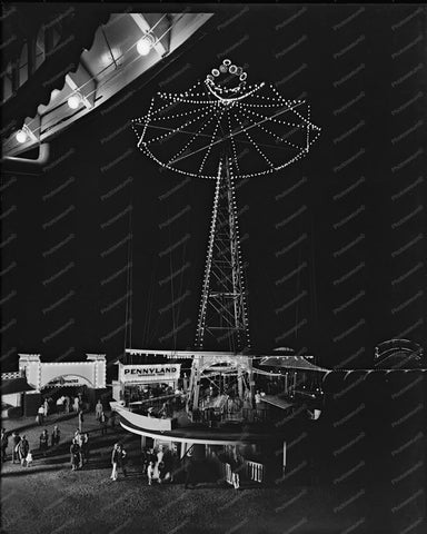 Glen Echo Airplane Tower Lights At Night 8x10 Reprint Of Old Photo