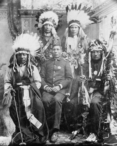 Chief Of Police With Indian Tribe 8x10 Reprint Of Old Photo
