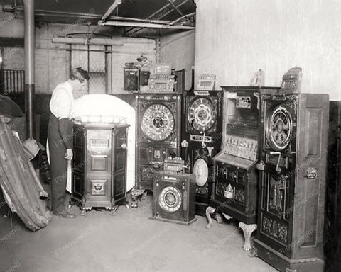Confiscated Antique Upright Slot Machines 8x10 Reprint Of Old Photo