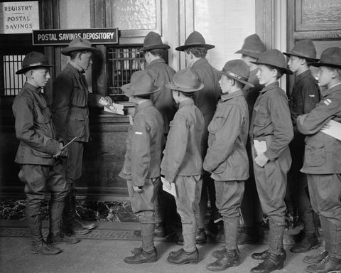 Boy Scouts Deposit Savings At Bank 1920 Vintage 8x10 Reprint Of Old Photo - Photoseeum