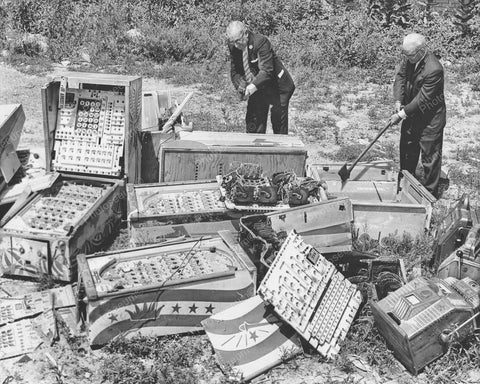 Bingo Pinballs & Slot Machines Destroyed Vintage 8x10 Reprint Of Old Photo