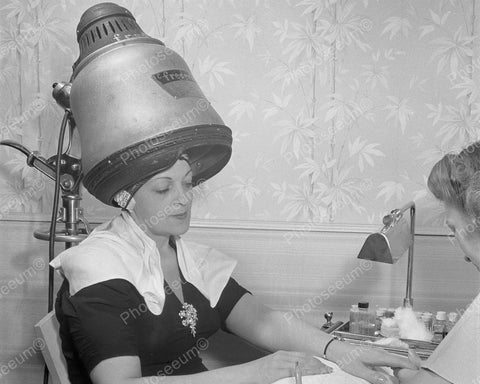 Dome Hair Dryer 1942 Vintage 8x10 Reprint Of Old Photo