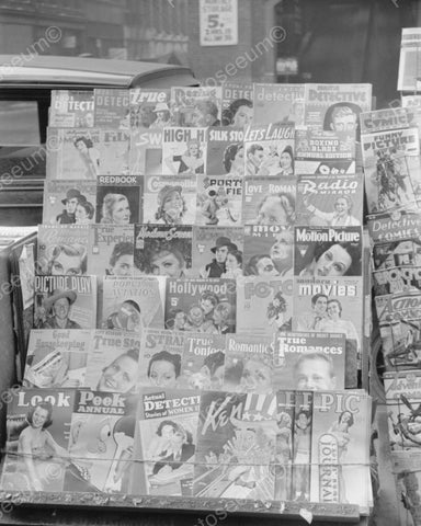 Magazine And Comic Book Rack 1939 Vintage 8x10 Reprint Of Old Photo - Photoseeum