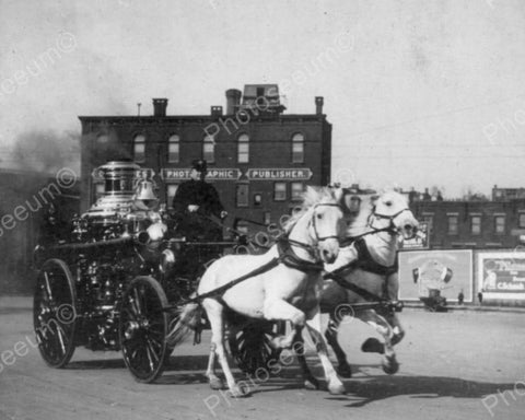 Fire Wagon W Horses Rushes To Fire 1900s Old 8x10 Reprint Of Photo
