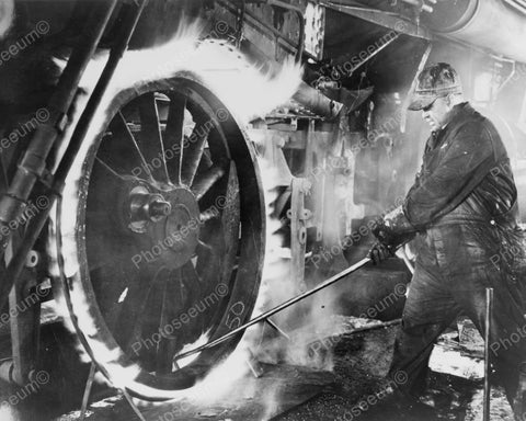 Machinist Works On Locomotive Wheel In Flames Vintage Reprint 8x10 Old Photo