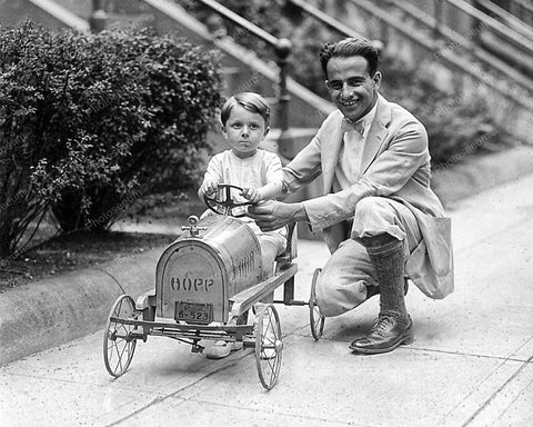 Hopp Pedal Car Son And Dad Vintage 8x10 Reprint Of Old Photo