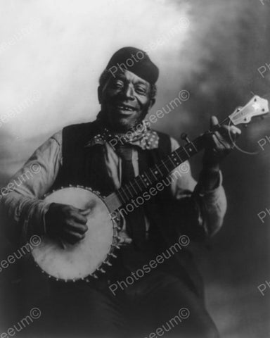 Happy Mose 1900s Black Banjo Player 8x10 Reprint Of Old Photo - Photoseeum
