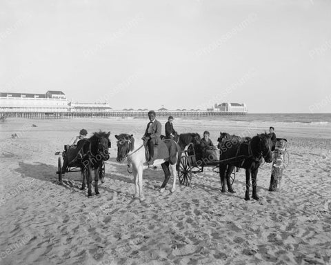 Boys Riding Horses On Atlantic City Beach 1910 Vintage 8x10 Reprint Of Old Photo