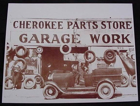 Cherokee Car Parts Garage Vintage Sepia Card Stock Photo 1930s