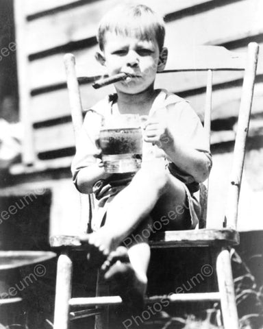 Young Boy With Beer And Smoking Cigar! Vintage 8x10 Reprint Of Old Photo