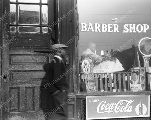 Barber Shop Window|Coca Cola Sign|Scale| 8x10 Reprint Of Old Photo - Photoseeum