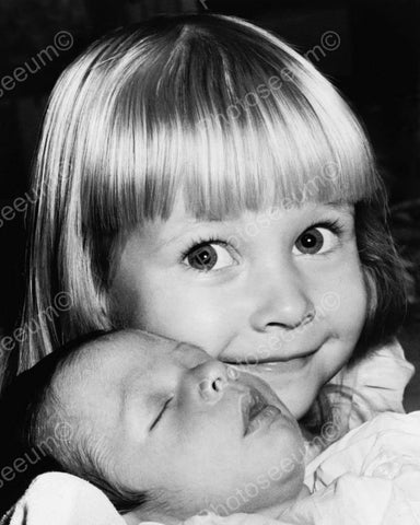 Beautiful Smiling Little Girl With Baby 8x10 Reprint Of Old Photo - Photoseeum