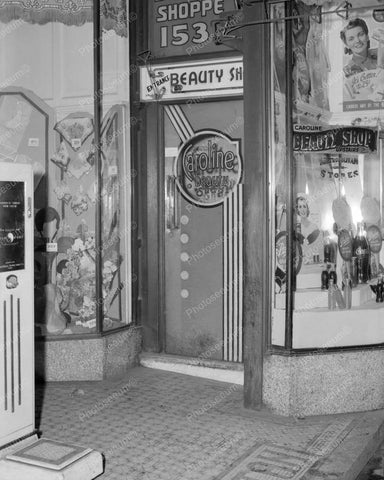 Beauty Shop With Windown Soda Display Vintage 8x10 Reprint Of Old Photo