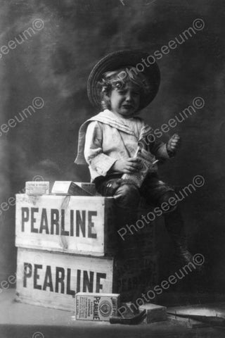 Endearing Tot In Tears Pearline Soap 4x6 Reprint Of Old Photo - Photoseeum