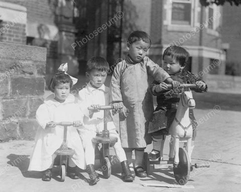 Cute Small Children Scooter Riders! 8x10 Reprint Of Old Photo - Photoseeum