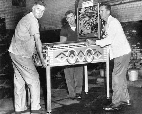 Woodrail Pinball Machine Confiscated Vintage 8x10 Reprint Of Old Photo