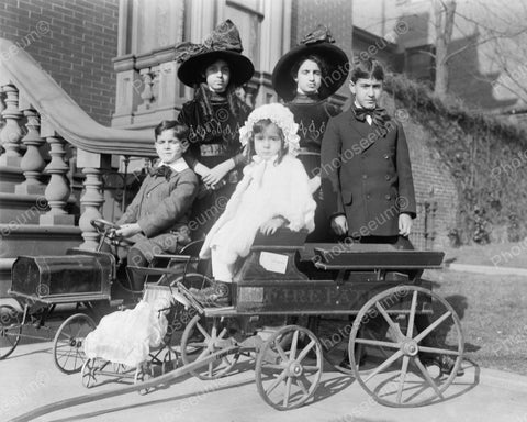 Pedal Car Fire Patrol Wagon 1912 Vintage 8x10 Reprint Of Old Photo