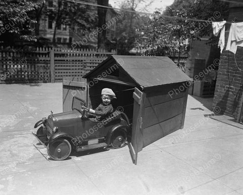 Boy With Pedal Car Garage 1925 Vintage 8x10 Reprint Of Old Photo