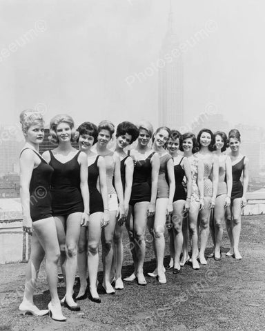 Beauty Pageant Contestants In Line 8x10 Reprint Of Old Photo