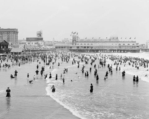 Bathers Enjoying Atlantic City Beach 1920 Vintage 8x10 Reprint Of Old Photo 1