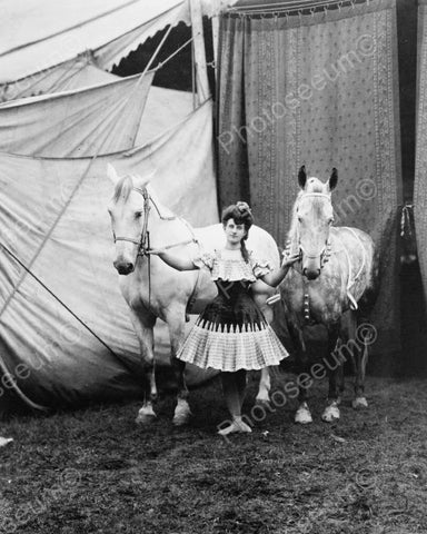 Circus Girl In Costume With Horses 1904 8x10 Reprint Of Old Photo